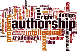 Word cloud of words related to authorship