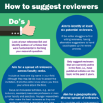 Infographic providing tips on how to suggest reviewers