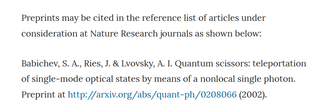 Screenshot from Nature author guidlines, stating their policy on the citation of preprints