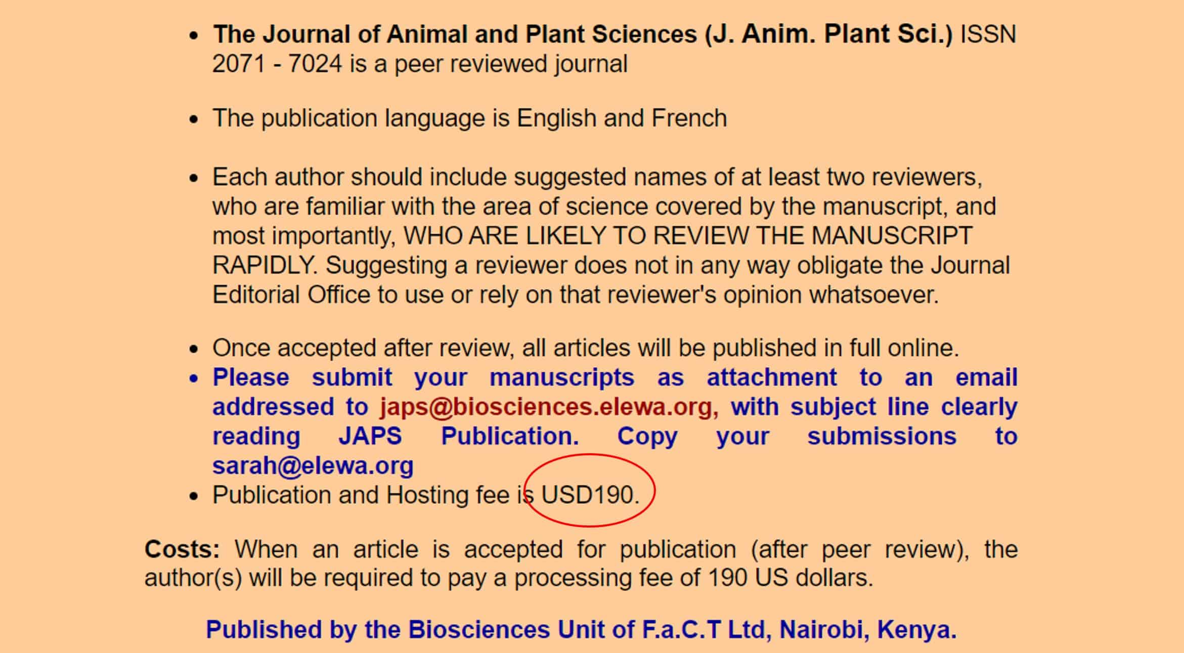 Image from predatory journals showing the very low ($190 USD) article processing charge.