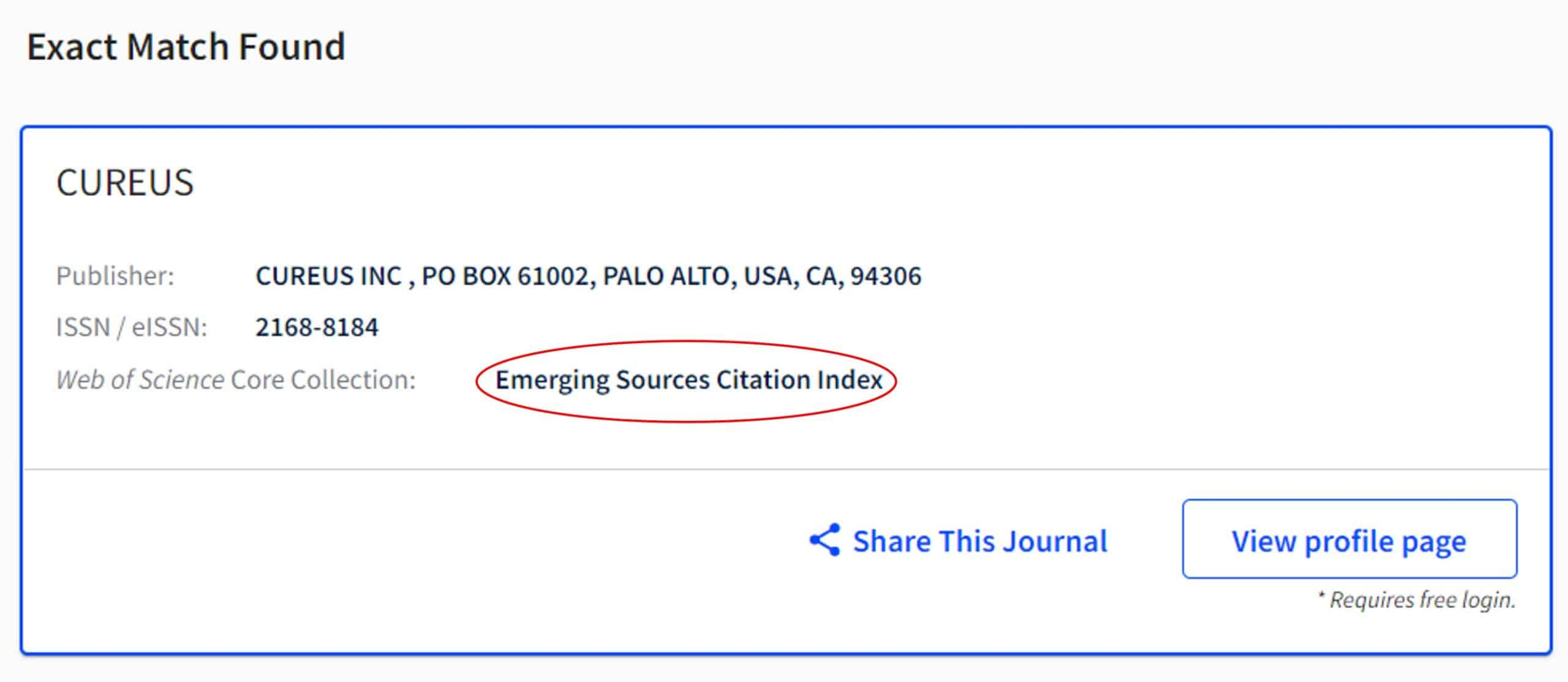 Image describing how to search for a journal on the Web of Science master list. The journal CUREUS is listed here as being indexed in the Emerging Science Citation Index.