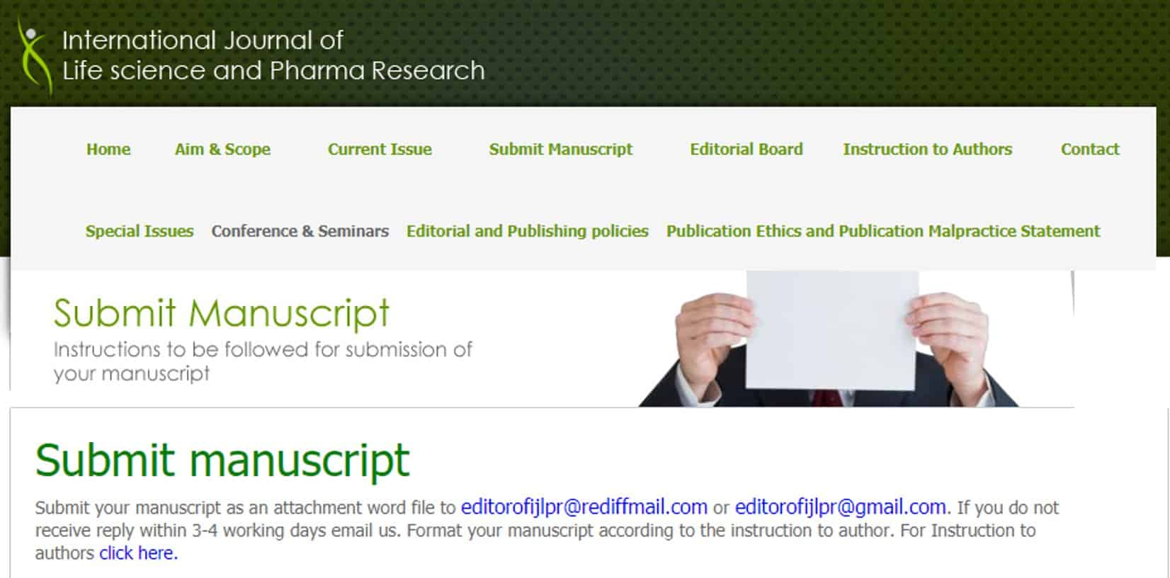 Image of predatory journal website in which authors are asked to submit their papers via email. The email addresses provided are non-professional, e.g., Gmail and Yahoo