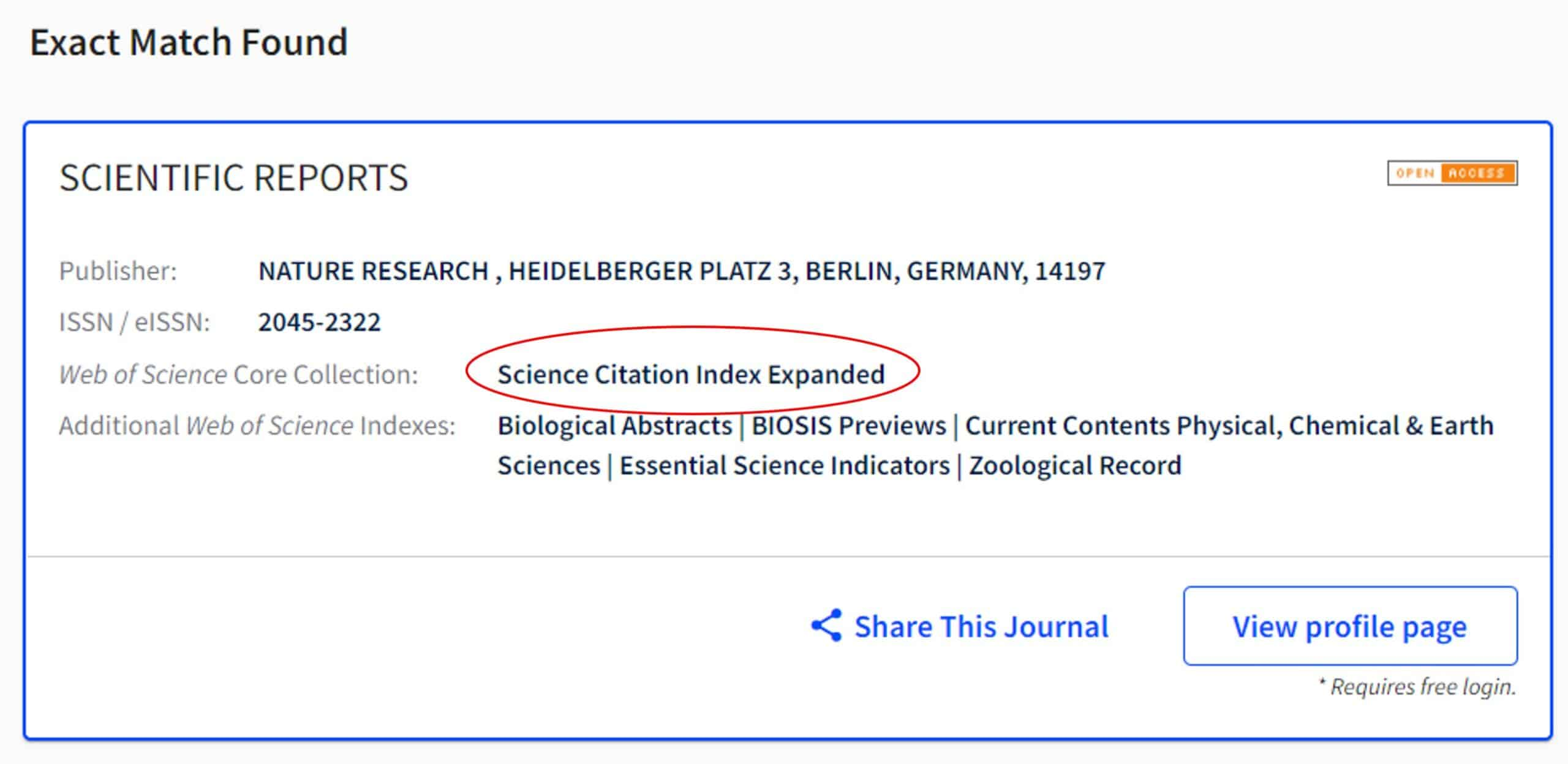 Image describing how to search for a journal on the Web of Science master list. The journal Scientific Reports is listed here as being indexed in the Science Citation Index Expanded, indicating that it is a high-quality journal