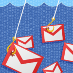 Email envelope symbols caught on fishing hooks, to indicate the method by which predatory journals get inexperienced scholars to submit their research.