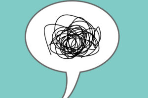 Speech bubble with squiggly, tangled line representing wordiness